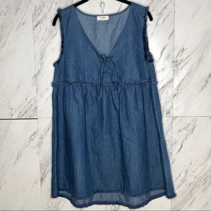 Umgee Chambray Frayed Laced Up Denim Dress S